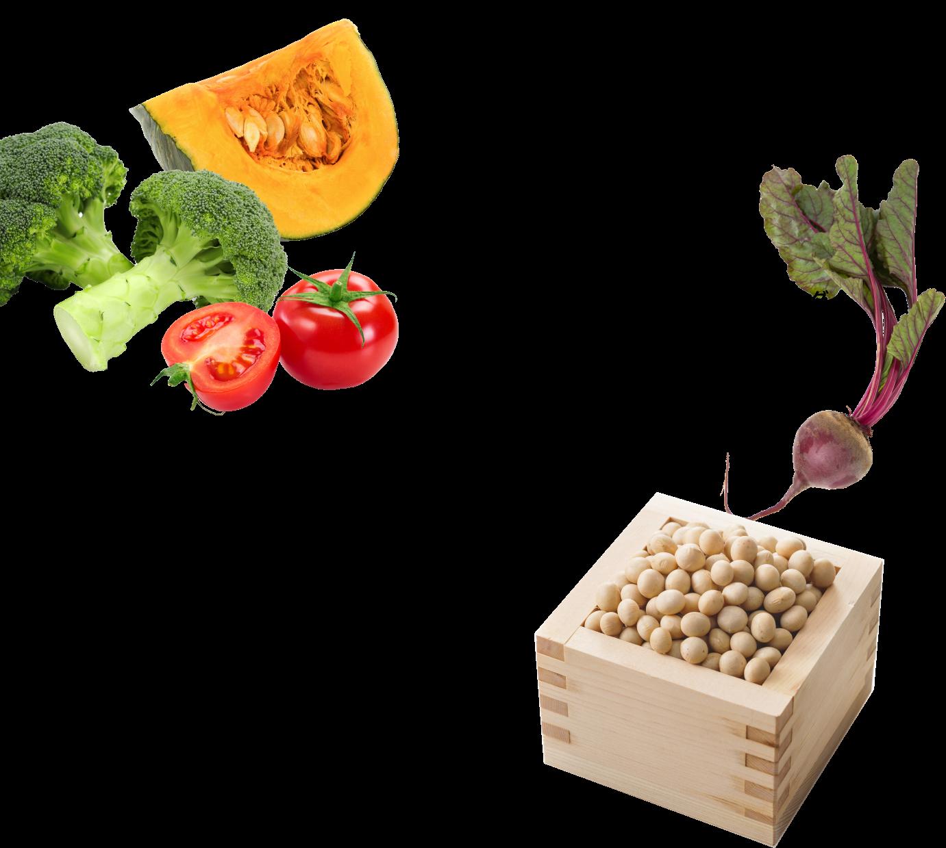 厳選野菜を配合!お通じにも配慮!国産の食物繊維                 良質なたんぱく質をバランスよく配合