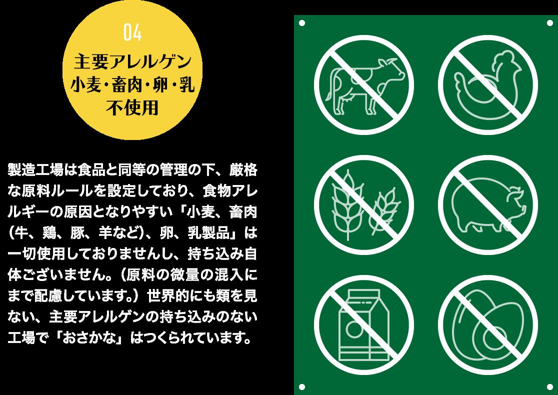 主要アレルゲン、小麦・畜肉・卵・乳、不使用